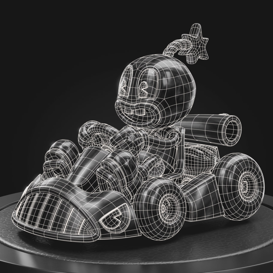 cherrybomb wireframe front view topology