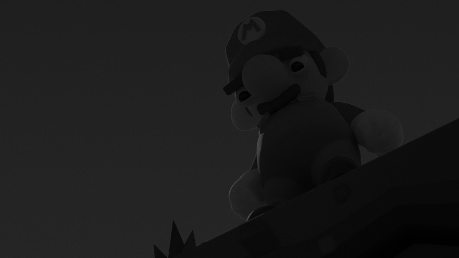 mario banner black and white