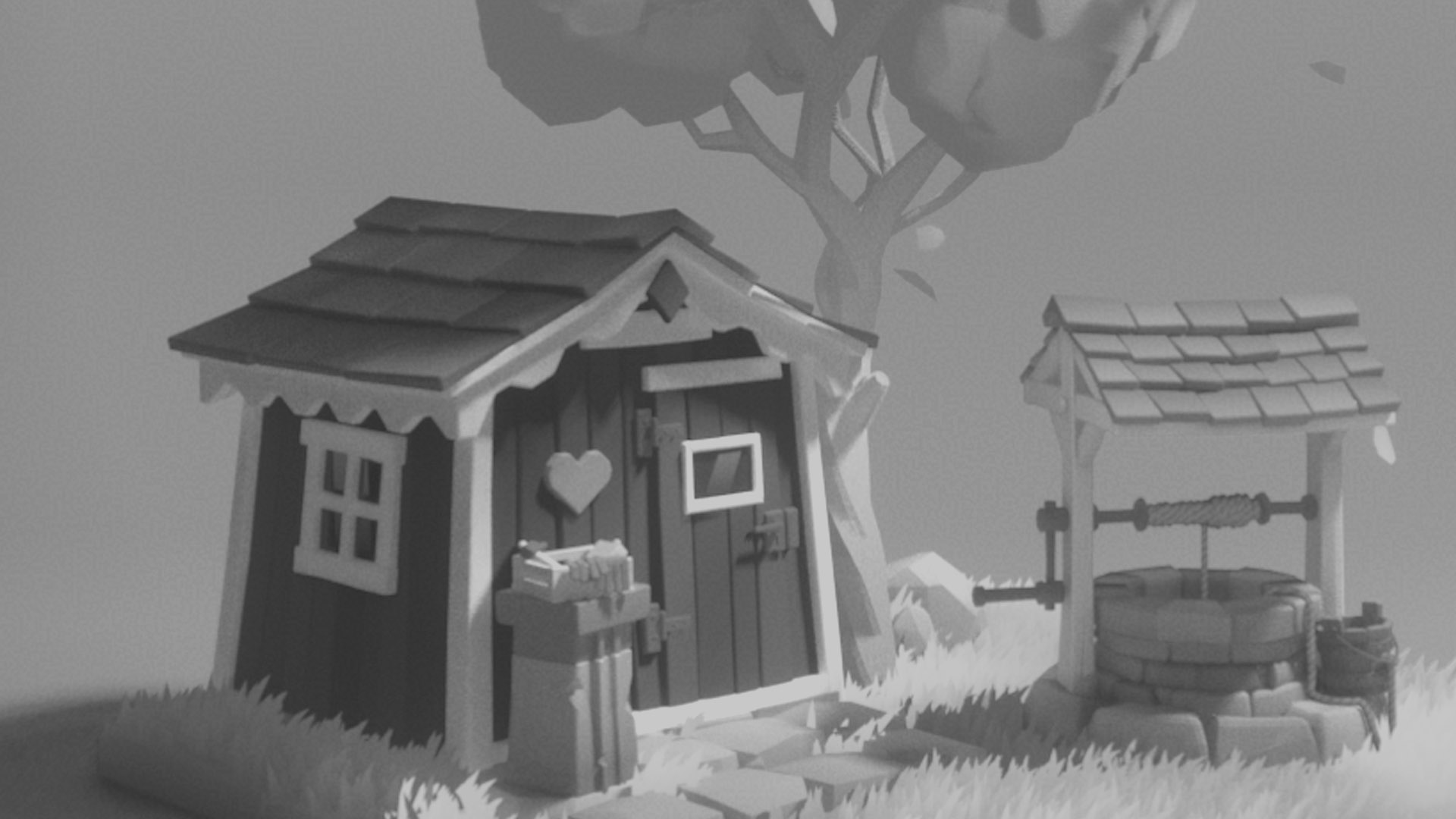 red house banner black and white