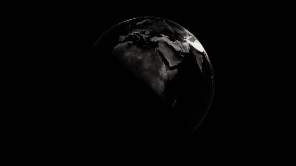 earth black and white still