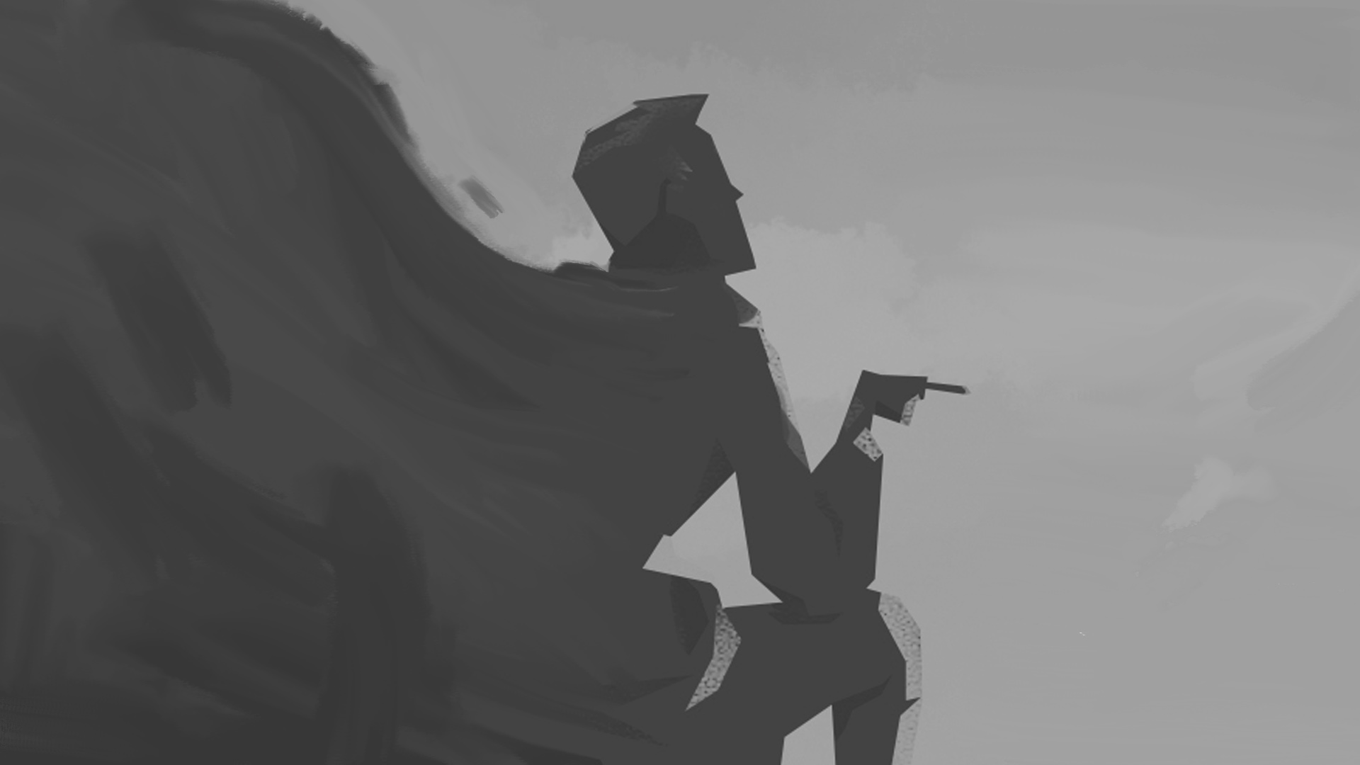 smoker banner black and white for illustration mix