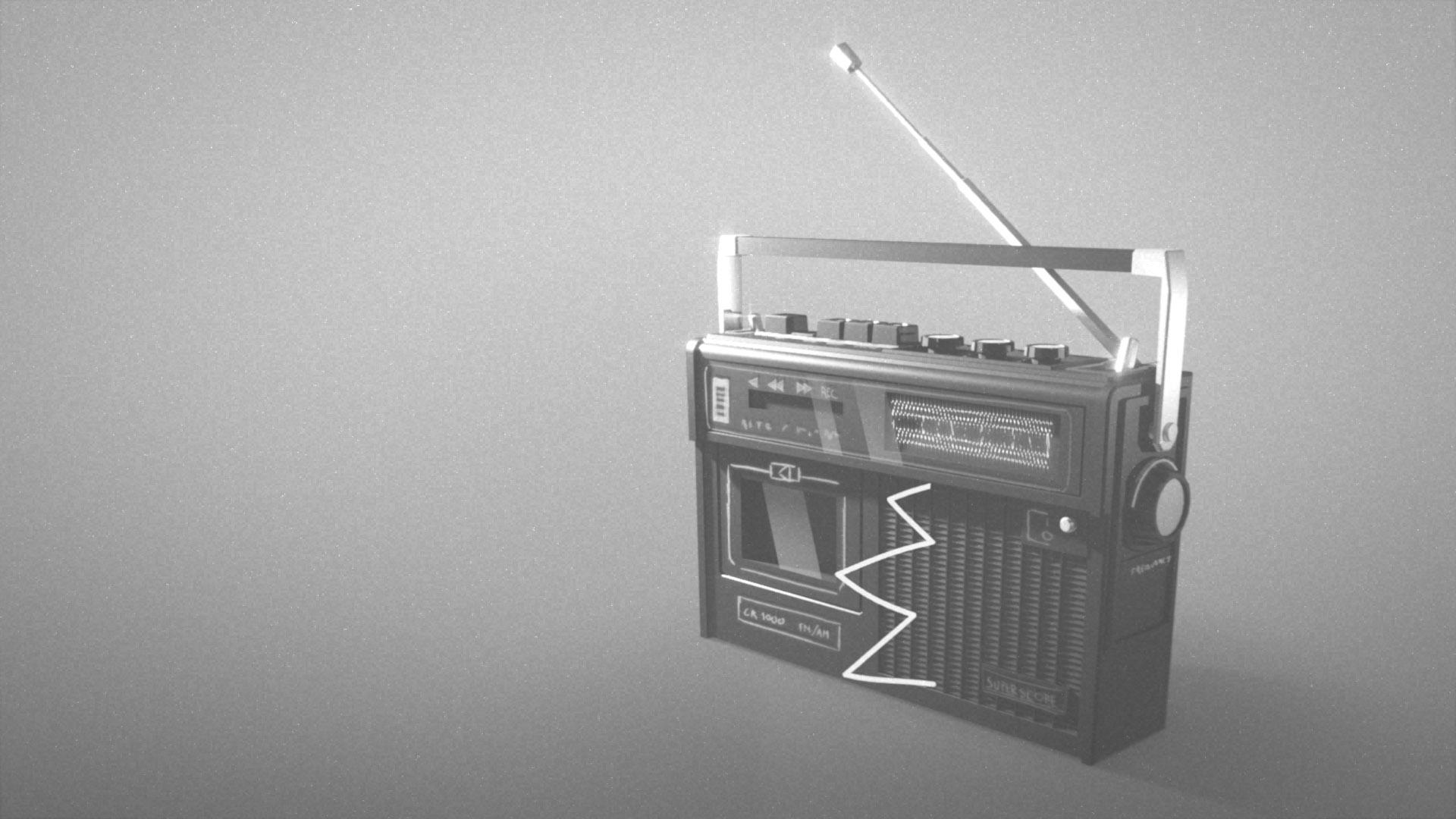 vj.04 radio banner black and white